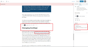 Adding anchor text to headings can be accessed in the sidebar.