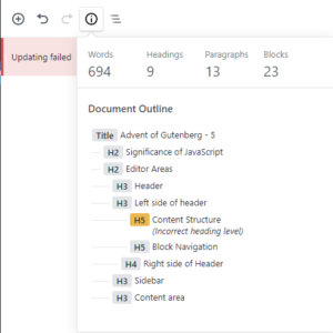 Content structure menu provides a quick overview of the current document.