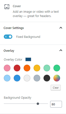 cover image controls including color overlay settings