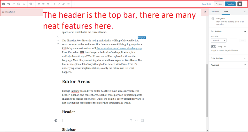 The editor header toolbar is featured at the top of the screen.