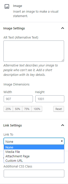 Image block sidebar controls contain alt text attributes, image dimensions, link settings, and additional css.