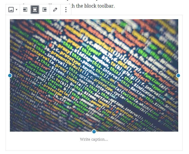 image block toolbar