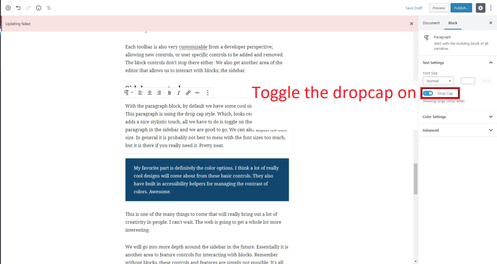 Drop caps for paragraphs can be toggled form the sidebar